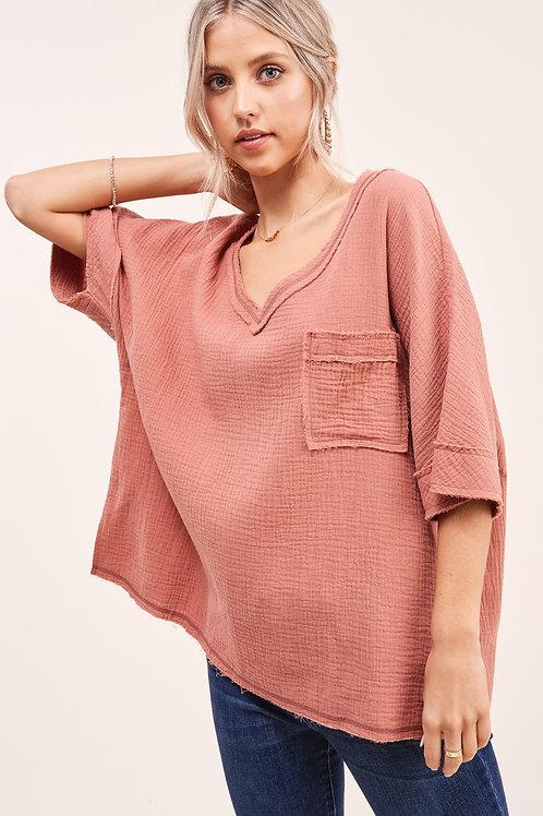 Oversized Gauze Marlena Top With Front Pocket