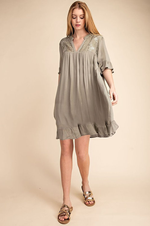 Gauze Lace Embroidered Dress With Pockets