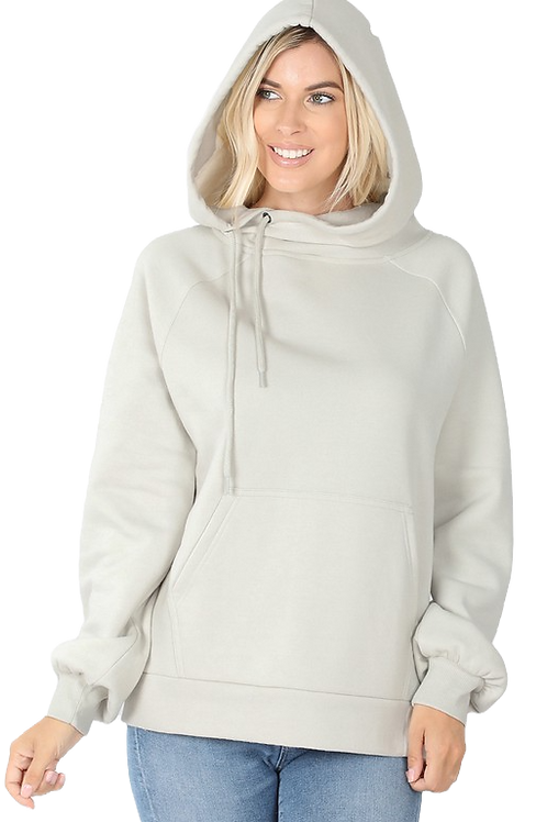 Side Tie Sweatshirt With Kangaroo Pocket