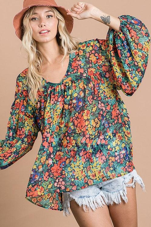 Multi Color Flower Print Chiffon Flare Top