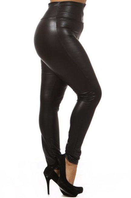 Plus Size: Faux Leather Full Length High Waisted Leggings