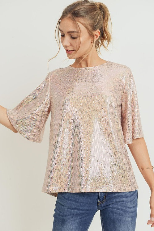 Sequins Bell Sleeve Top