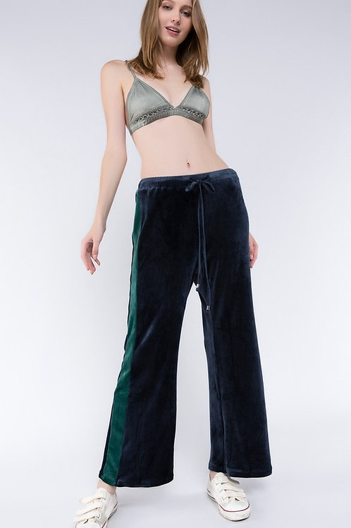 Wide Legged Track Pants With Color Block Side Panels
