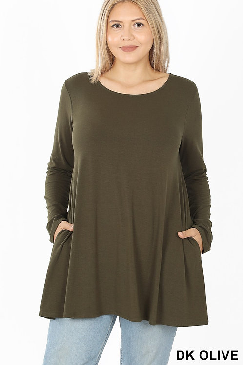 Plus Size: Long Sleeve Flared Top