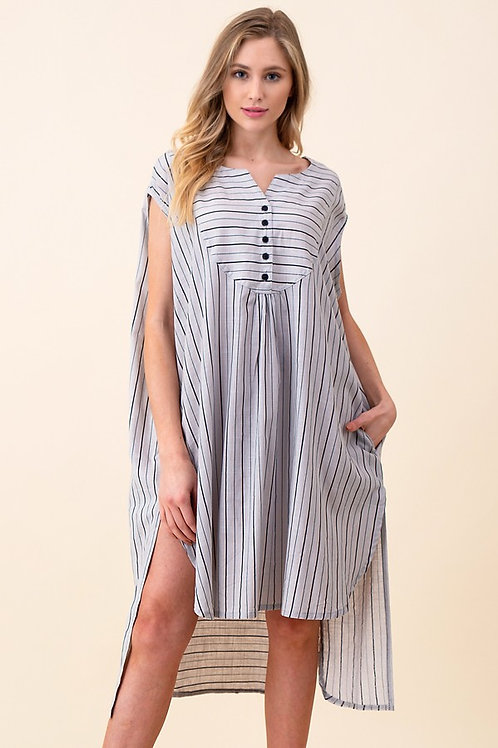 Relaxed Button Trim Striped Mini Dress