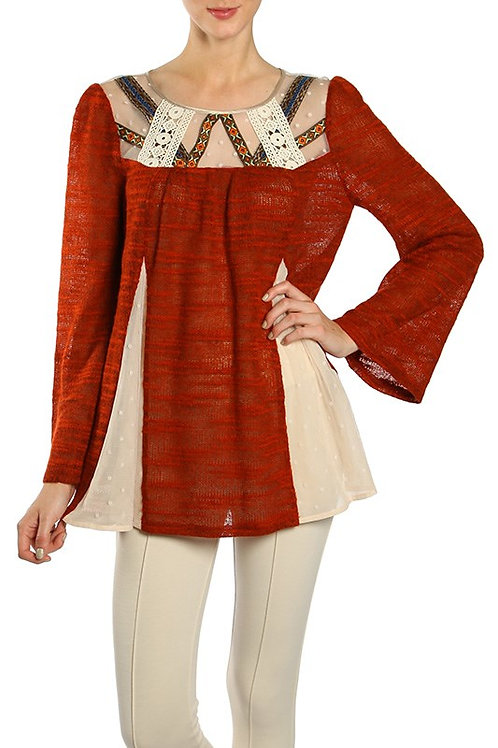 Embroidered Lace Contrast Sweater