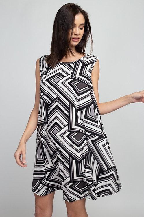 Geometric Pattern Boat-Neck Mini Dress