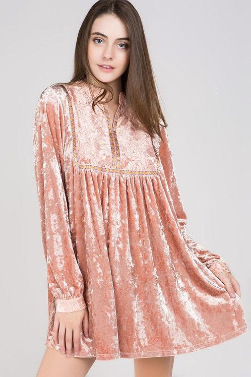 Crush Velvet Pintucked A-Line Dress