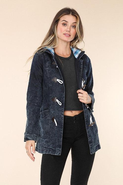 Denim Jacket With Plaid Lined Hood