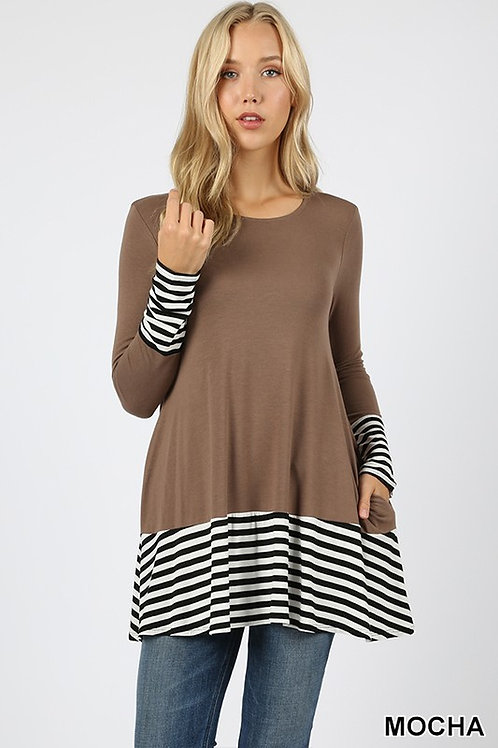 Striped And Solid Contrast Tunic Top