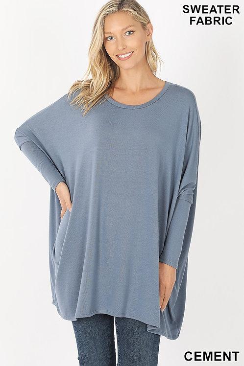 Oversized Sweater Fabric Poncho