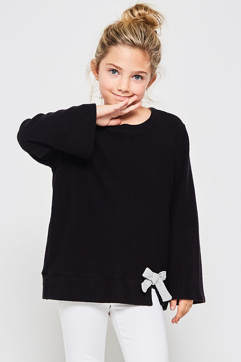 Tunic Knit Sweater With Ribbon Detail