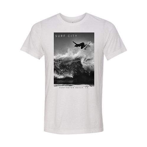 Ocean Rescue - Surf City Huntington Beach CA Black and white magazine tee