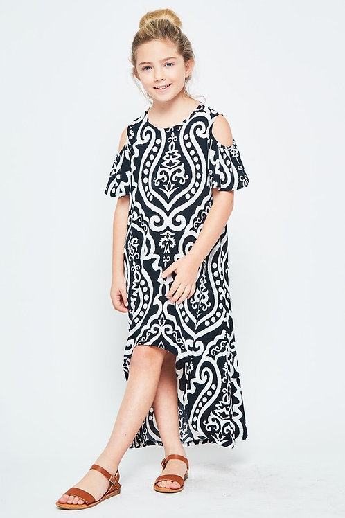 Girls High-Low Damask Maxi Dress With Pockets