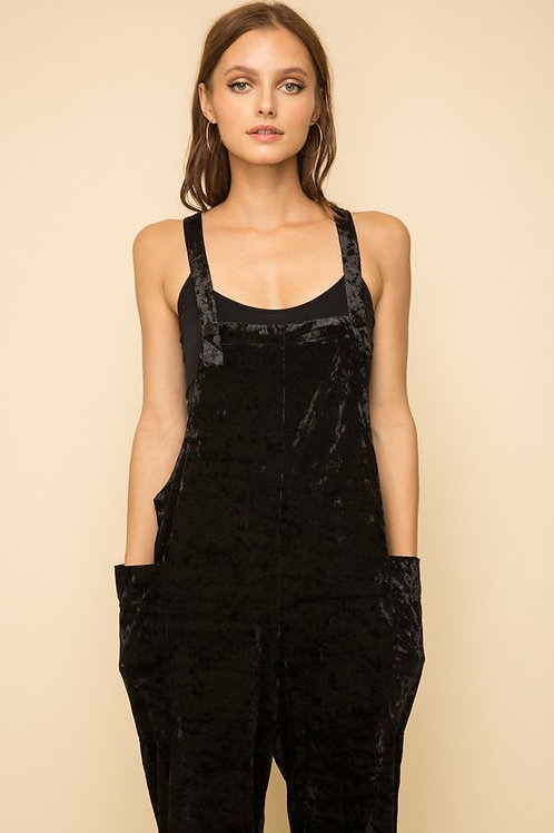Cross Back Velvet Overall With Pockets