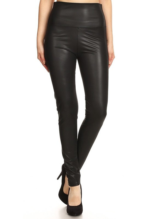 Faux Leather Full Length High Waisted Leggings