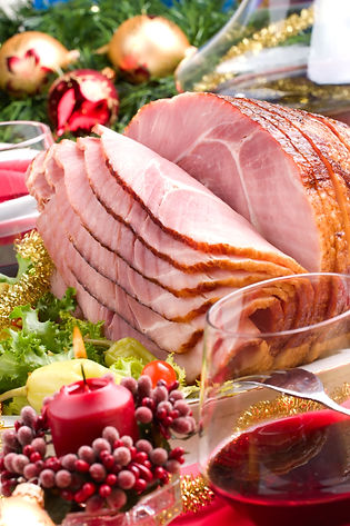 Holiday table with delicious ham