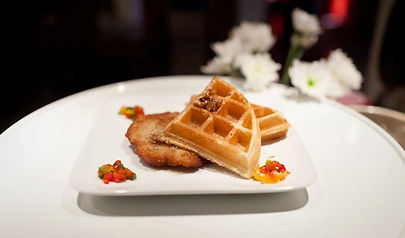 Elm Chicken & Waffles with Pecan Praline