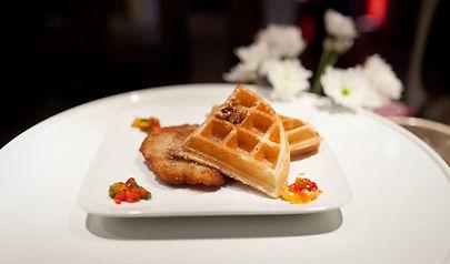 Elm Chicken & Waffles with Pecan Praline