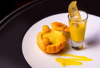 high cuisine pumpkin soup in restaurant