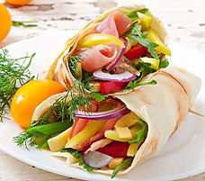 Fresh tortilla wraps with meat and veget