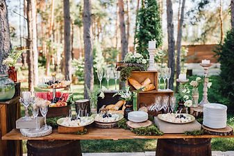 Reception table with snacks and lemonade