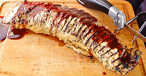 Roasted pork loin with raspberry tequill