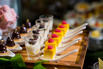 Glass shots  pastry. wedding catering fo