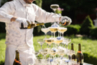 Catering service. Wedding slide champagn
