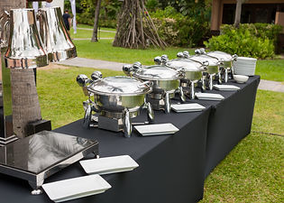 Buffet Table with Row of Food Service St