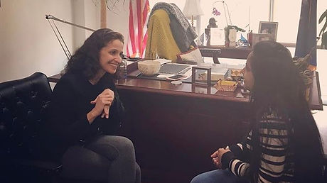 Assemblywoman Simotas meets with a young Queens resident to discuss education, professional choices,