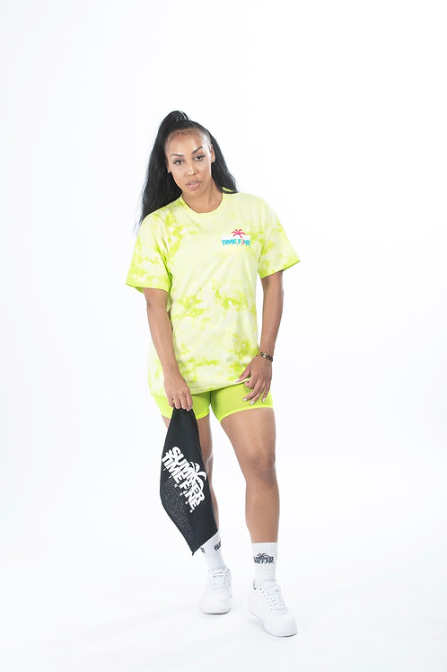 The FitChella Tie Dye Oversized Graphic Tee Neon Green