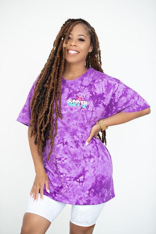 FitChella Tie Dye Oversized Graphic Tee PURPLE