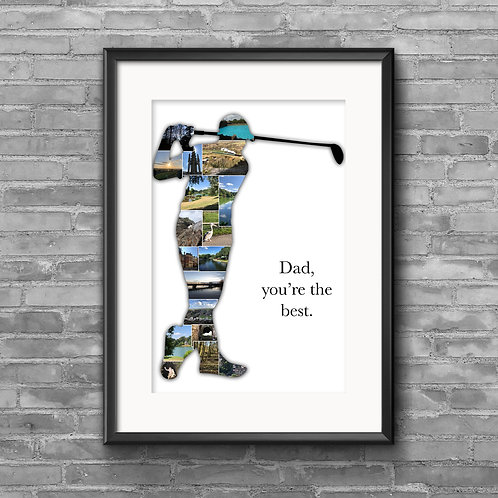 Golfer personalised photo collage