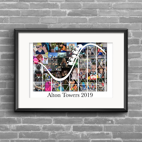 Roller coaster, theme park personalised photo collage