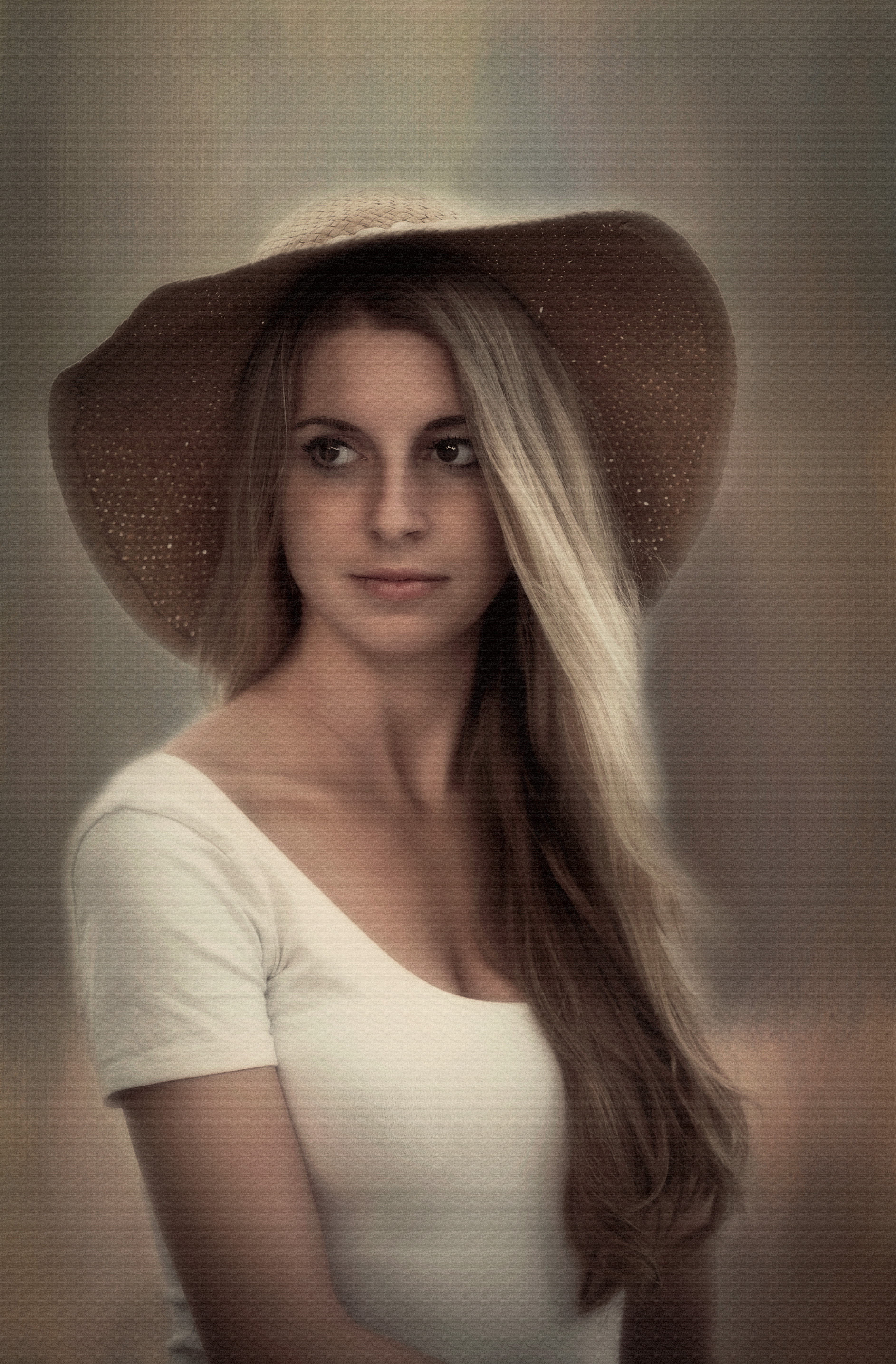 Blonde Girl in Straw Hat