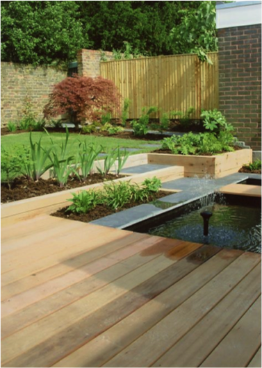 Decking and pond