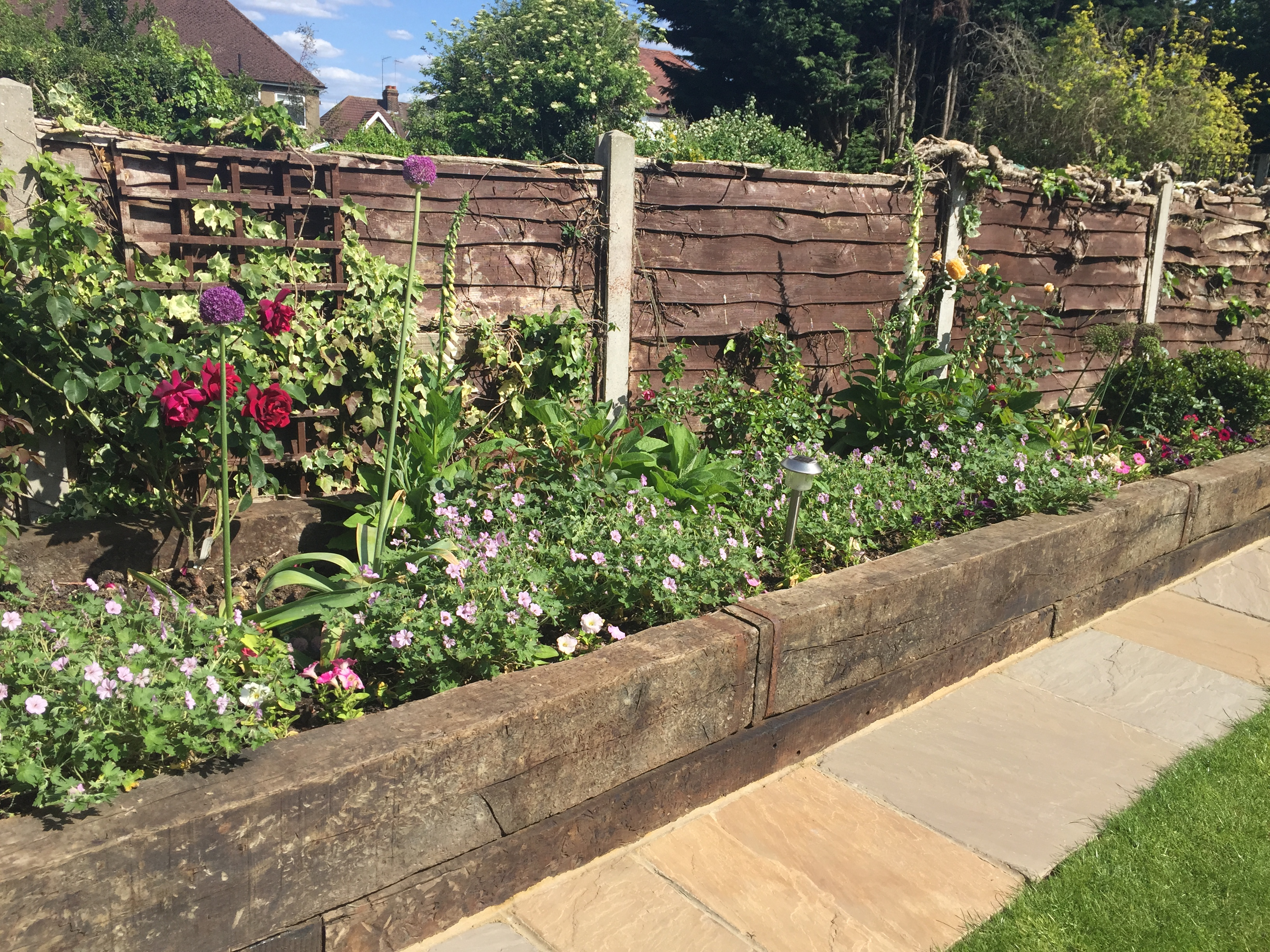 Planters, Paving and Sleeper beds