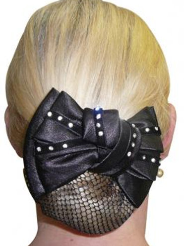 Diamontes On Velvet Show Bow and Hair Net - Black