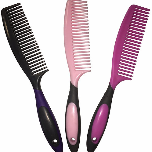 Mane Comb Ergonomic Handle Light Pink & Grey