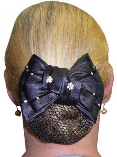 Diamond Flowers Show Bow & Hair Net Navy