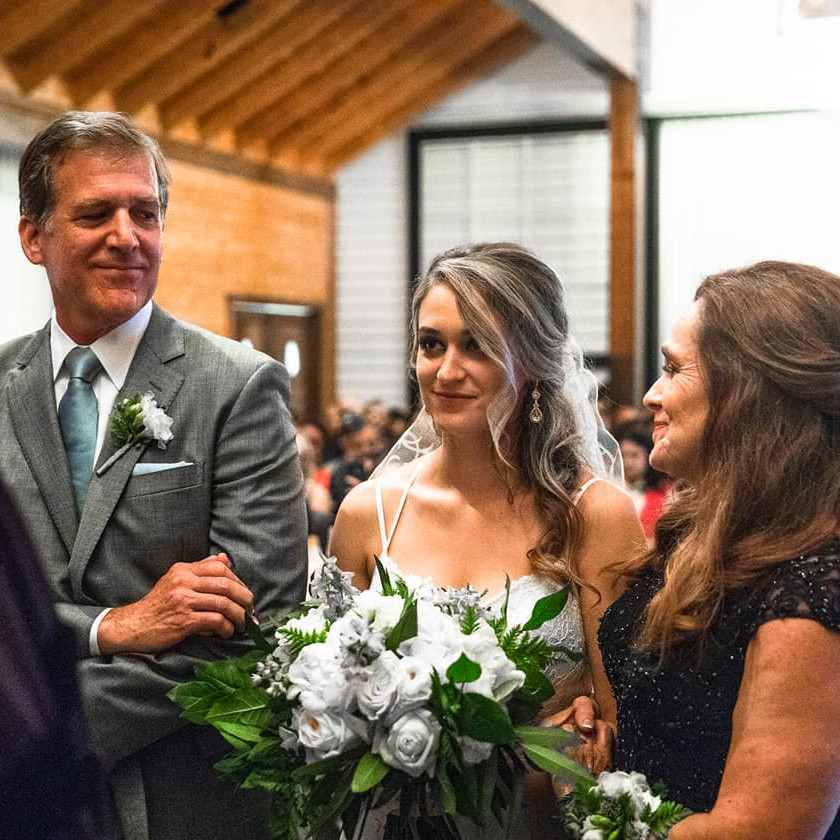 Father and Mother giving bride away