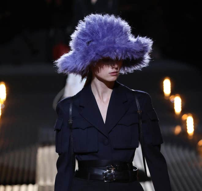 #prada #fauxfur #buckethat #rave #fashion