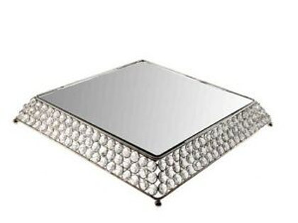 Square Beaded Crystal Silver Cake Stand