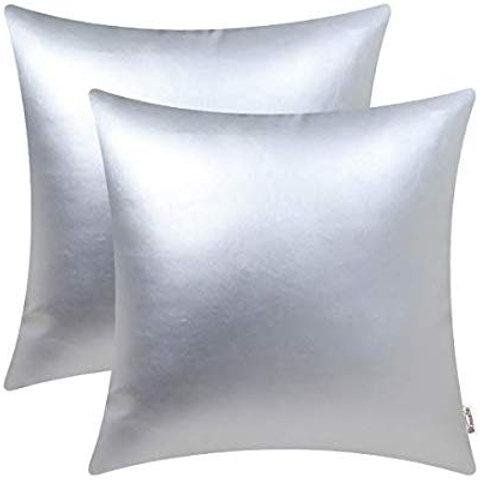 """18"""" x 18"""" Silver Metallic Throw Pillow"""