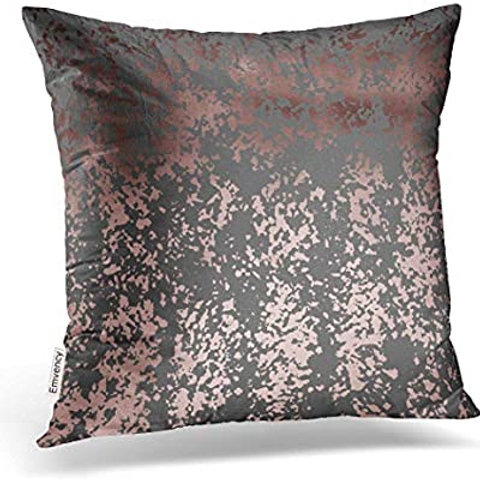 "18"" x 18"" Grey and Rose Gold Metallic Throw Pillow"