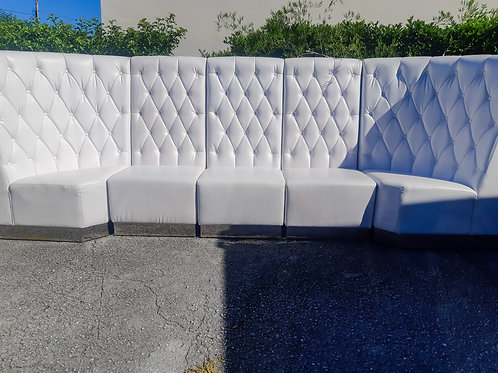 White Leather Tufted Lounge Set