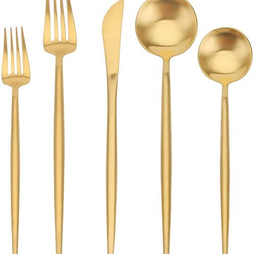 Gold Satin Finish 5pc Cutlery Set