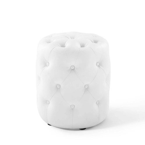 Small White Leather Ottoman