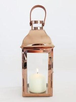 """12"""" Rose Gold Metal Candle Lantern"""